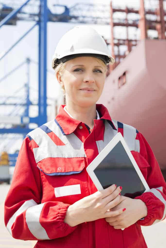 upcoming work trends - female construction worker with a tablet