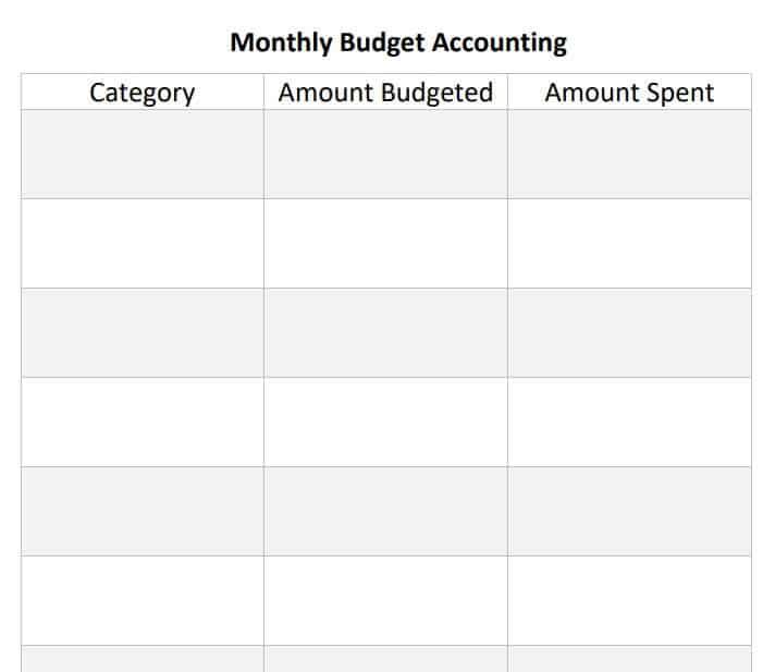 Free Easy Printable Budget