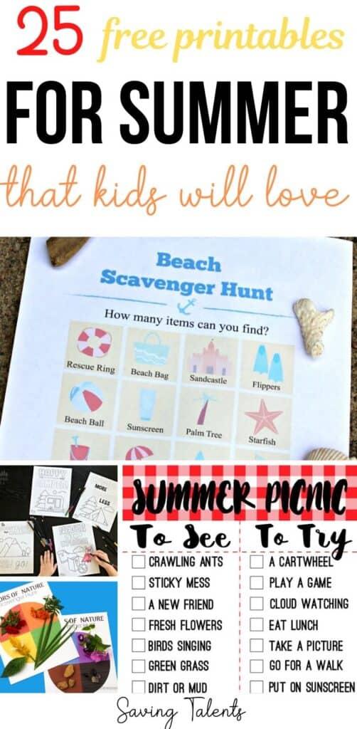 Free Summer Printables for Kids