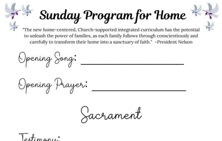 3 Tips for a Successful Sacrament Meeting at Home + Free Printable