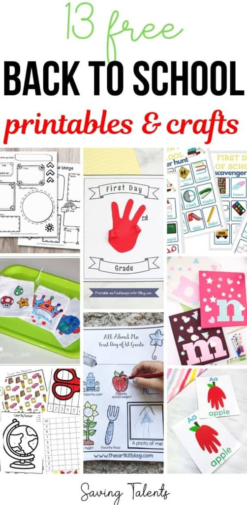 Crafts and Printables for Back to School