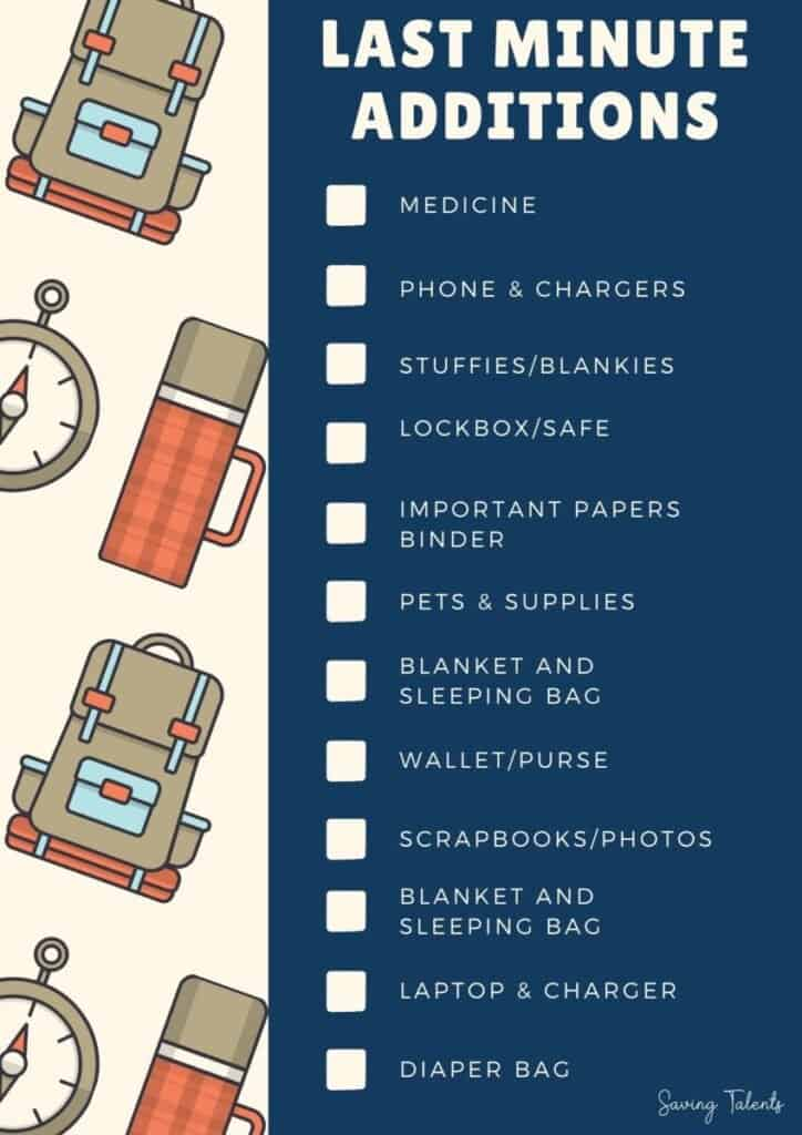 72 hour kit last minute additions checklist