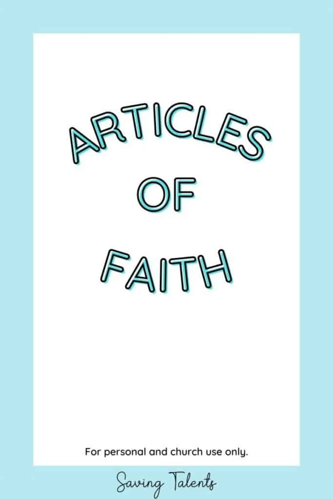 free printable quiet book for church - articles of faith