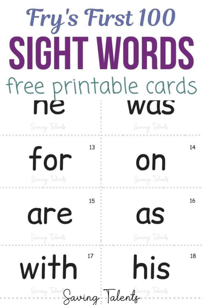 Frys First 100 Sight Words Free Printable pin