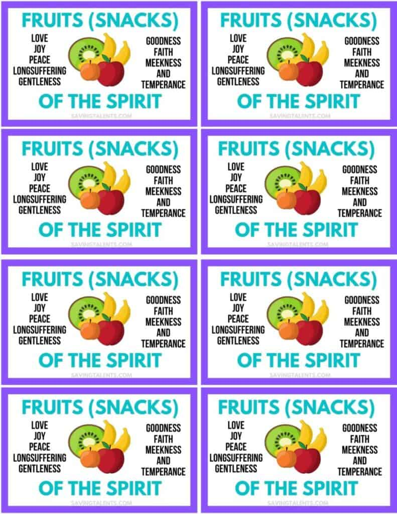 fruit snacks Free Printables for Baptism Treats