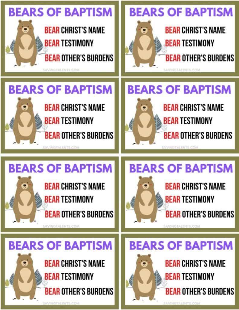 bears for baptism Free Printables for Baptism Treats