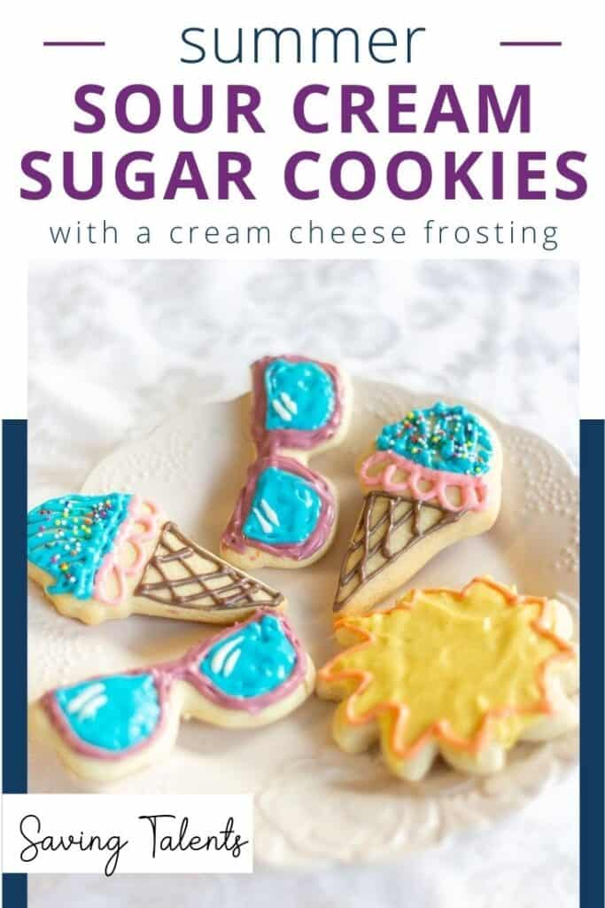 Summer Sour Cream Sugar Cookies with Cream Cheese Frosting