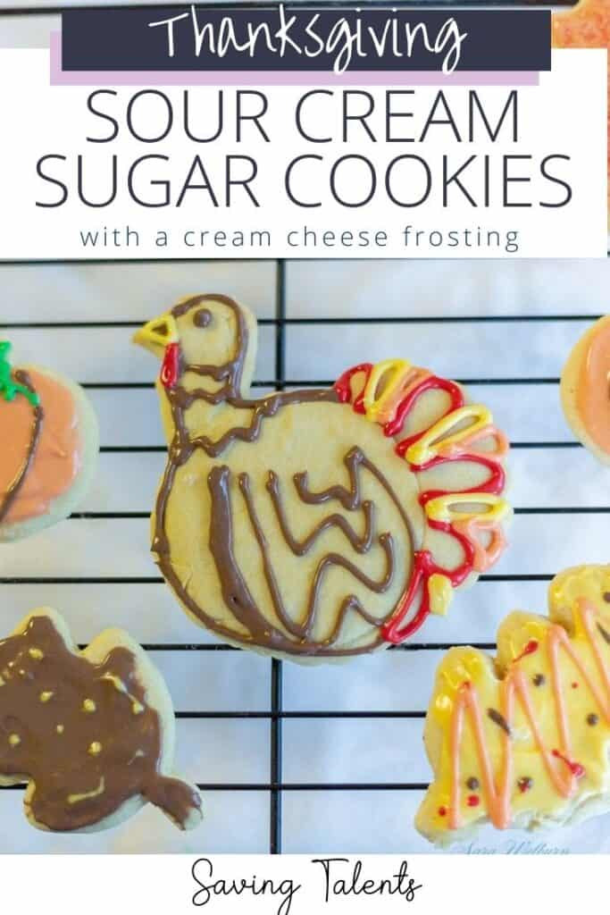 Thanksgiving Sour Cream Sugar Cookies with Cream Cheese Frosting