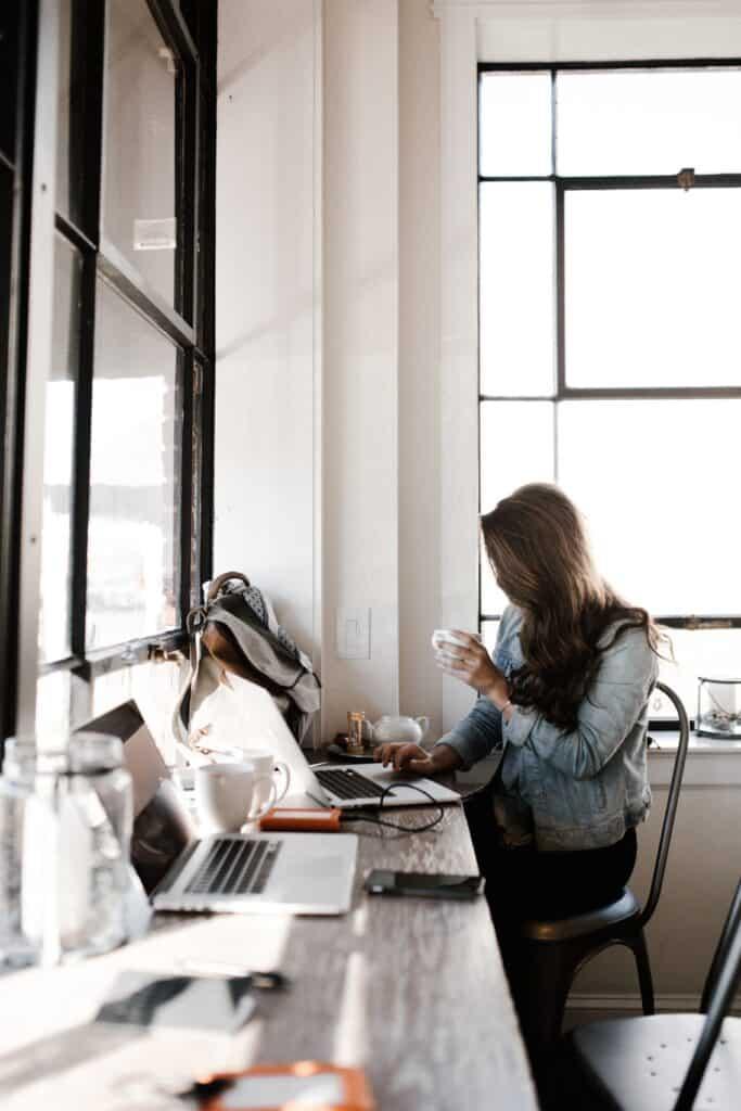 work life balance - woman at laptop alone